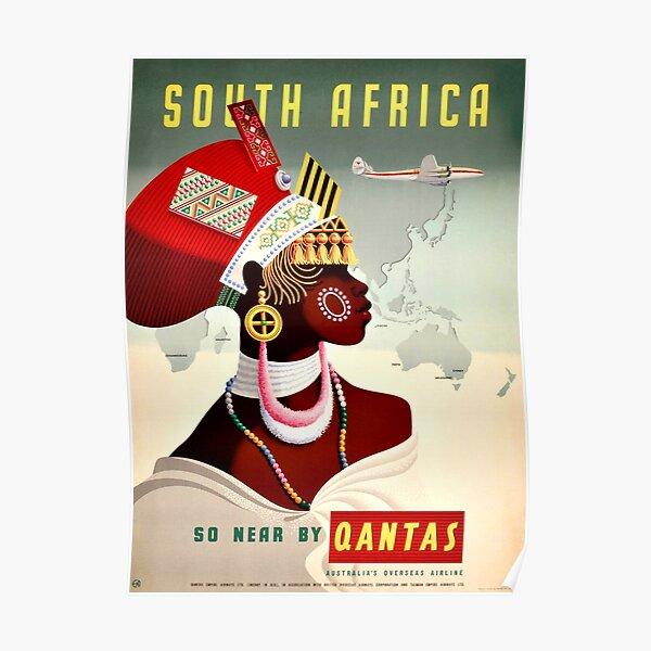 South Africa Qantas - Vintage Travel Poster Poster