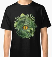 Watercolor dinosaur eye and prehistoric plants Classic T-Shirt
