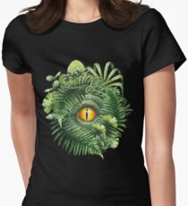 Watercolor dinosaur eye and prehistoric plants Women's Fitted T-Shirt