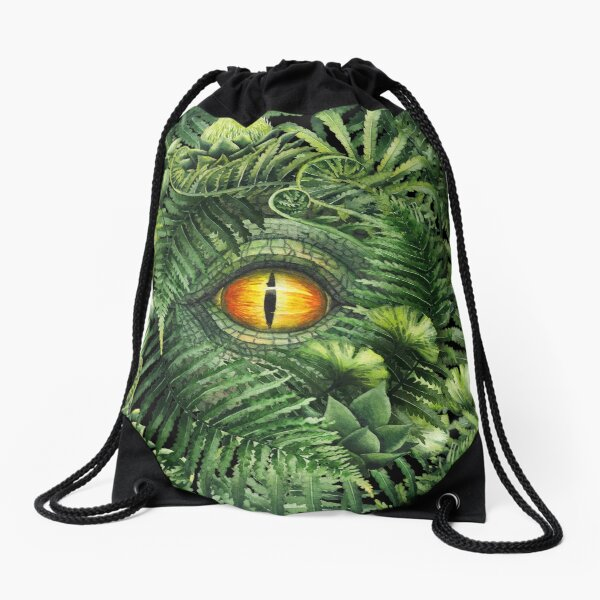 Watercolor dinosaur eye and prehistoric plants Drawstring Bag