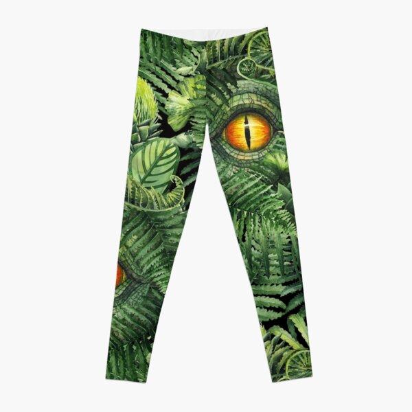Watercolor dinosaur eye and prehistoric plants Leggings