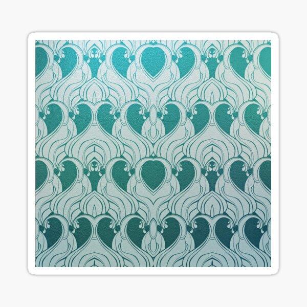Jugendstil,blaugrün,weiß,Blumen,Belle poque,Vintage,elegant,metallisch,Muster,modern,trendy,dekorativ Sticker