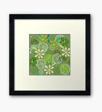 Seamless swirly green floral pattern Framed Print