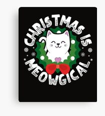 Christmas Is Meowgical - Funny Cat Holiday Design Canvas Print