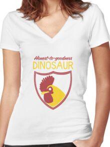 Honest-To-Goodness Dinosaur: Rooster (on dark background) Women's Fitted V-Neck T-Shirt