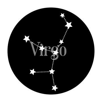 Virgo zodiac constellation (black) by EleYeah