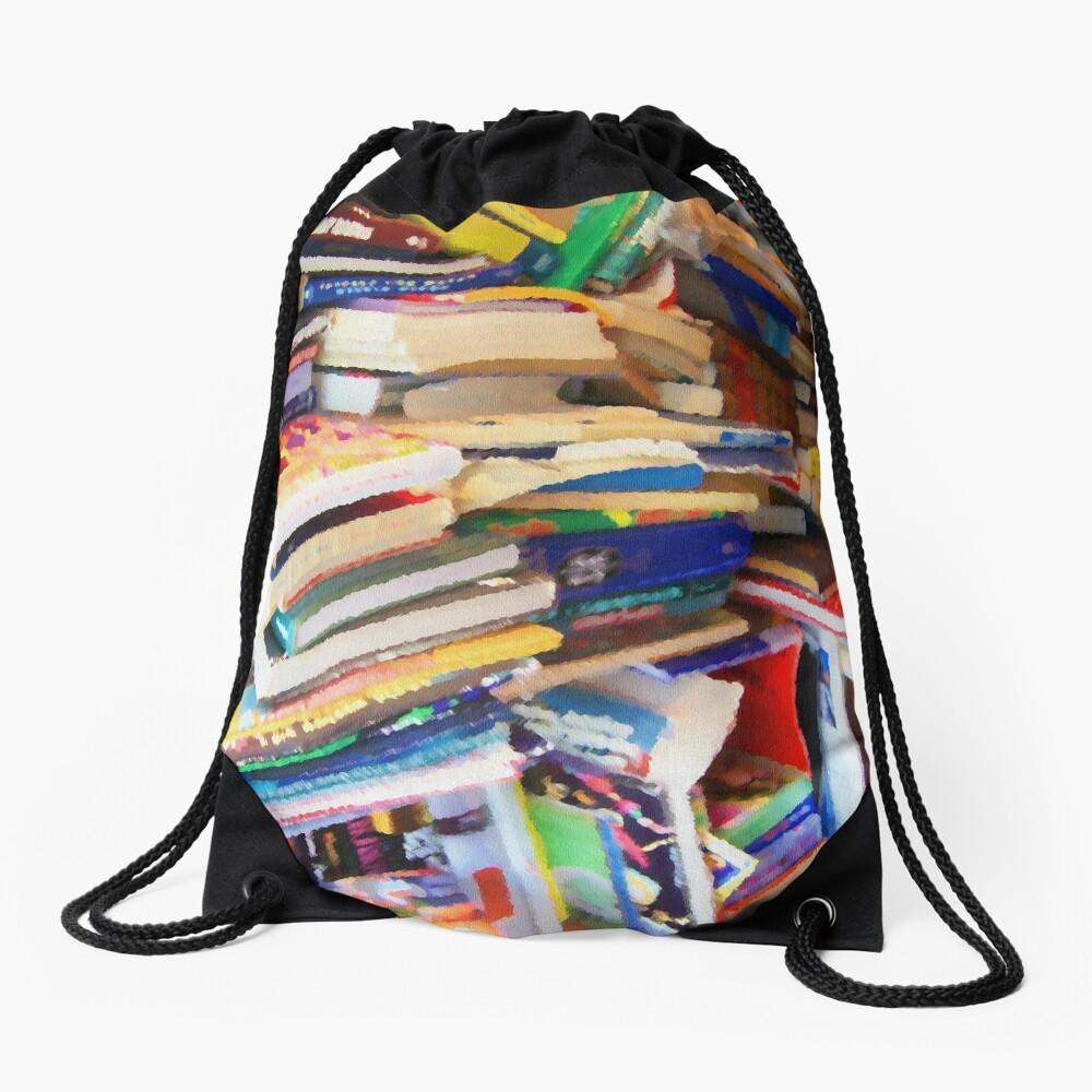 Stacks of Books Drawstring Bag
