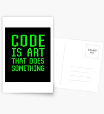 Code Is Art That Does Something Funny Computer Programming Coding Gift Postcards