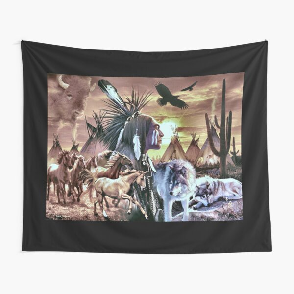 Native American One With Nature Tapestry