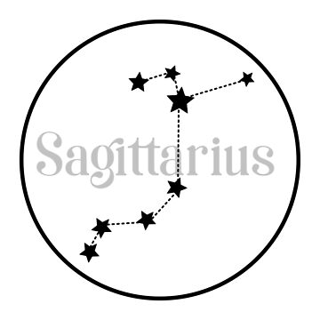 Sagittarius zodiac constellation (white) by EleYeah
