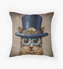 Steam Punk Vintage Cat Throw Pillow
