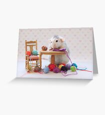 Rosie still knitting..... Greeting Card
