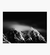 Black and white long exposure of clouds above mountain Photographic Print