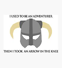 Skyrim Helmet - Arrow in the knee Photographic Print