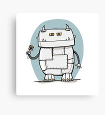 Robot with Flower Canvas Print