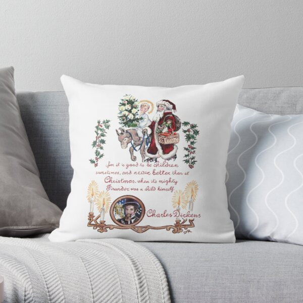 Dickens and Christmas Throw Pillow