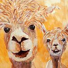 Golden Yellow Alpaca Couple by carolineskinner