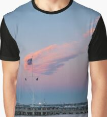 Flag Blowing in the Breeze at Sunset Graphic T-Shirt