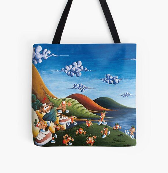 Tale of Carrots (cut) - Kids Art from Shee - Surreal Worlds All Over Print Tote Bag