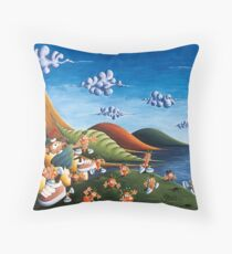 Tale of Carrots (cut) - Kids Art from Shee - Surreal Worlds Throw Pillow