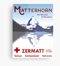 Matterhorn, Zermatt, Switzerland, Ski Poster Metal Print