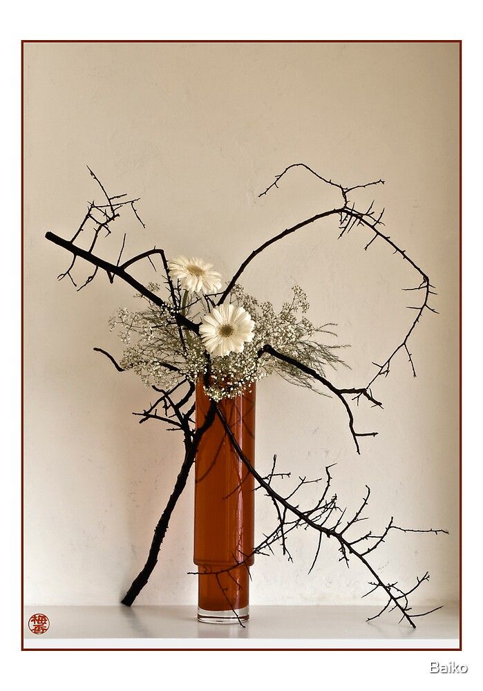 Ikebana-065 Greeting Card by Baiko