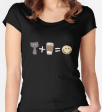 Cats Plus Coffee Equals Happiness - Funny Cat Design Women's Fitted Scoop T-Shirt
