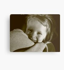 3 year old girl with blanket Metal Print