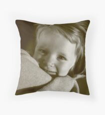 3 year old girl with blanket Throw Pillow