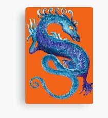 Blue Coiled Dragon Canvas Print
