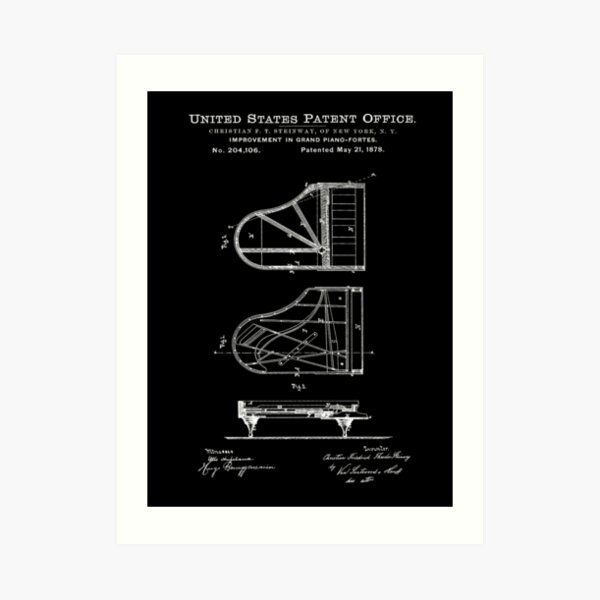 Steinway Piano Patent White Art Print