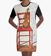 Violin in Repose Watercolor Art Graphic T-Shirt Dress