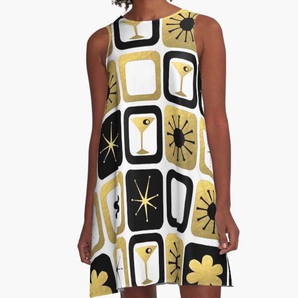Retro Glamorous Gold Pattern A-Line Dress