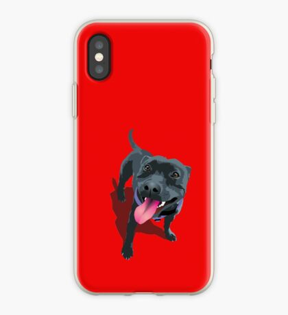 Staffy Bull Terrier on Red iPhone Case