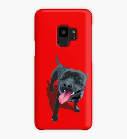 Staffy Bull Terrier on Red Case/Skin for Samsung Galaxy