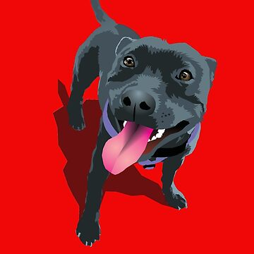 Staffy Bull Terrier on Red by aartytees