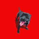 Staffy Bull Terrier on Red by Bloomin'  Arty Families