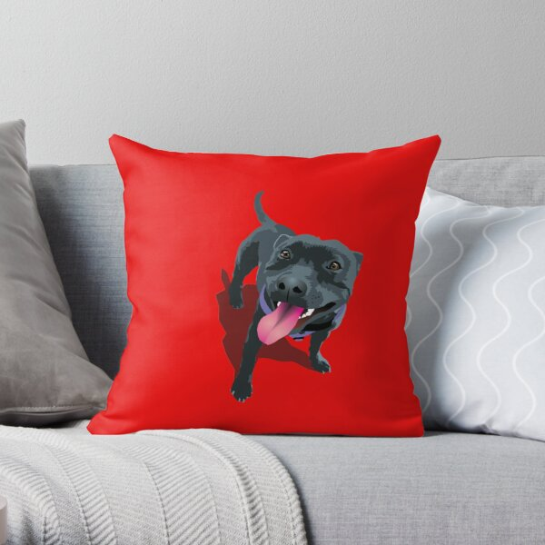 Staffy Bull Terrier on Red Throw Pillow