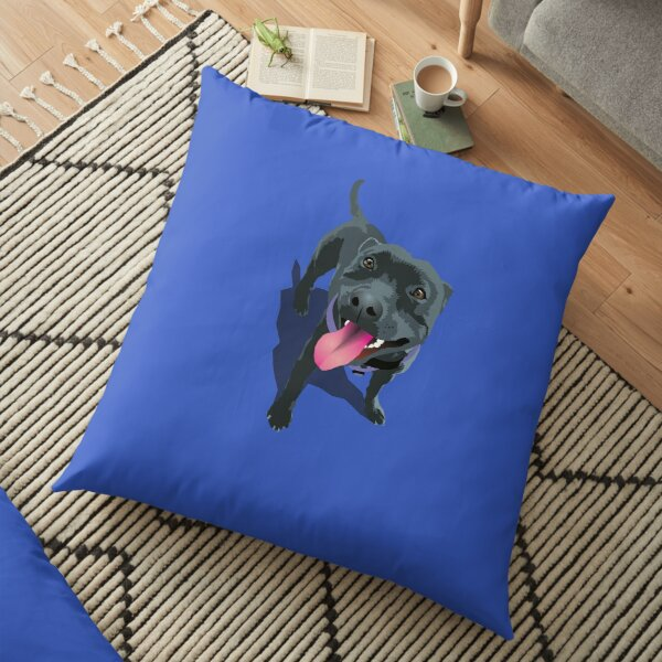 Staffy Blue Floor Pillow