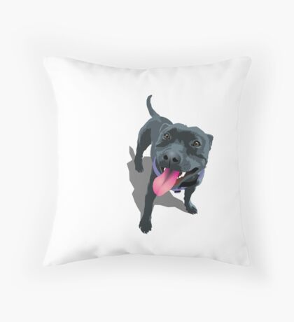 Staffy White Throw Pillow