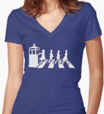 Tardis Road - White Women's Fitted V-Neck T-Shirt