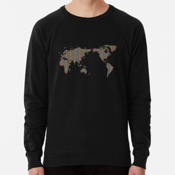 Rainbow Mosaic World Map Lightweight Sweatshirt