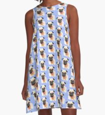 Blue Pinky Pug A-Line Dress