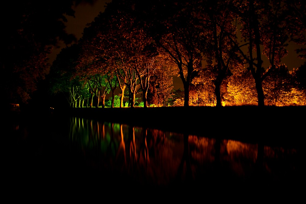 Canal at night by Forcedfocus