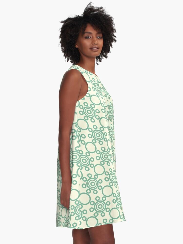 Vista alternativa de Vestido acampanado Ornamento verde hermoso vestido