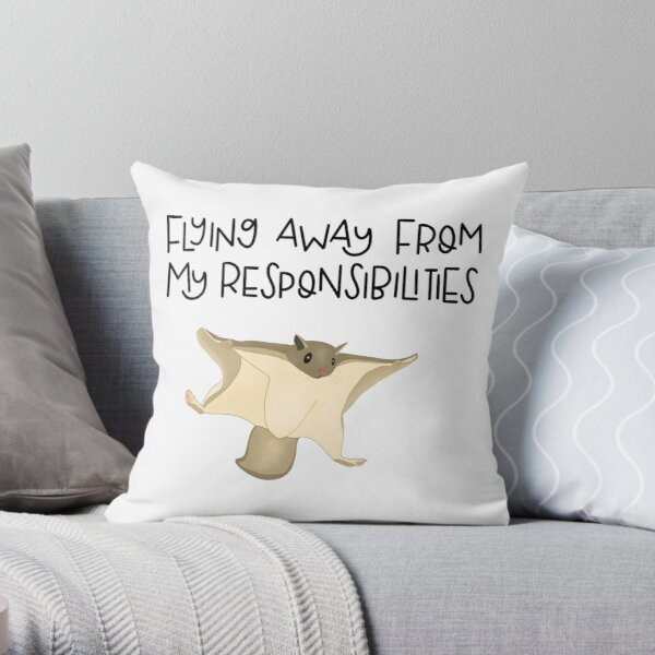 Northern Flying Squirrel Flying Away from Responsibilities Throw Pillow