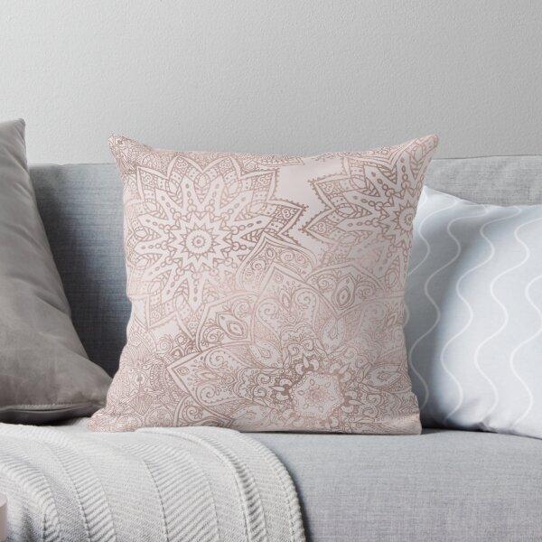 Rose gold mandala - blush pink Throw Pillow