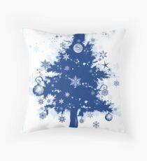 Christmas Card - Blue Decorative Christmas Tree Throw Pillow
