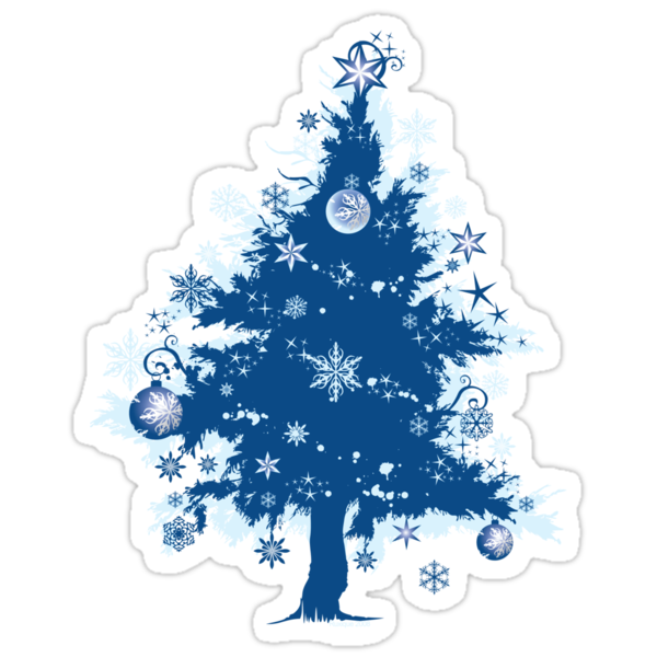 """Christmas T-shirt - Blue Christmas Tree"" Stickers by ..."