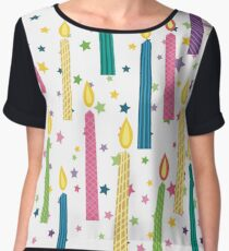 Cartoon Birthday Candles Seamless Background Pattern Women's Chiffon Top